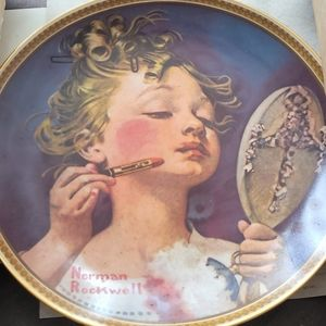 Making Believe at the mirror Norman Rockwell plate